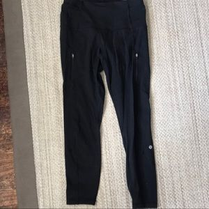 Women's lulu lemon capris with pocket zips.